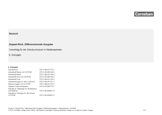 Doppel-Klick - Stoffverteilungsplan für Niedersachsen - 6. Schuljahr