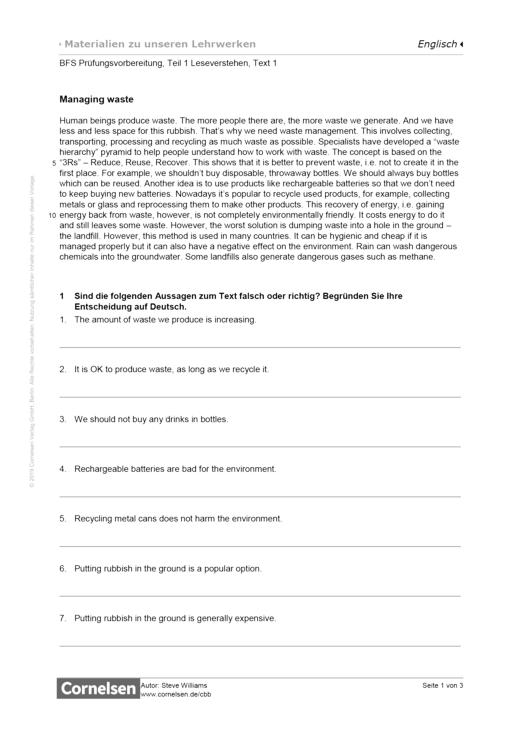 BFS Prüfungsvorbereitung, Teil 1 Leseverstehen, Text 1, Worksheet 2 - Arbeitsblatt