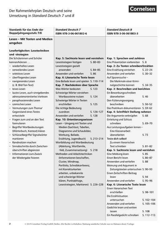 Standard Deutsch - Stoffverteilungsplan für Brandenburg - 7./8. Schuljahr