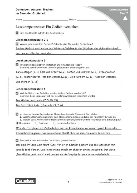 Doppel-Klick - Lesediagnose Test 7 schwer - Diagnosebogen - 8. Schuljahr