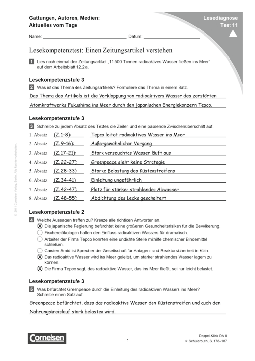 Doppel-Klick - Lesediagnose Test 11 schwer - Diagnosebogen - 8. Schuljahr