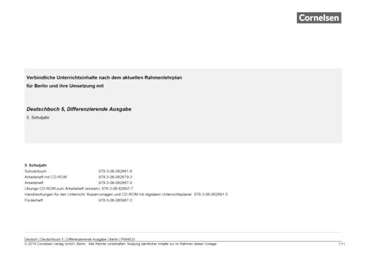 Deutschbuch - Stoffverteilungsplan für Berlin - 5. Schuljahr