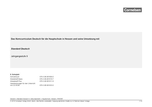 Standard Deutsch - Stoffverteilungsplan für die Hauptschule in Hessen - 9. Schuljahr
