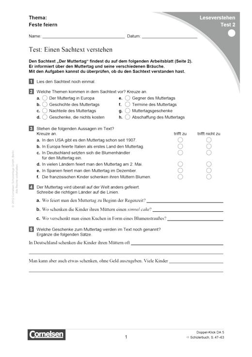 Doppel-Klick - Lesediagnose Test 2 leicht - Diagnosebogen - 5. Schuljahr