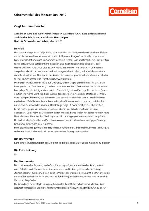 Zeigt her eure Bäuche! - Fall Juni 2012 - Schulrechtsfall - Webshop-Download