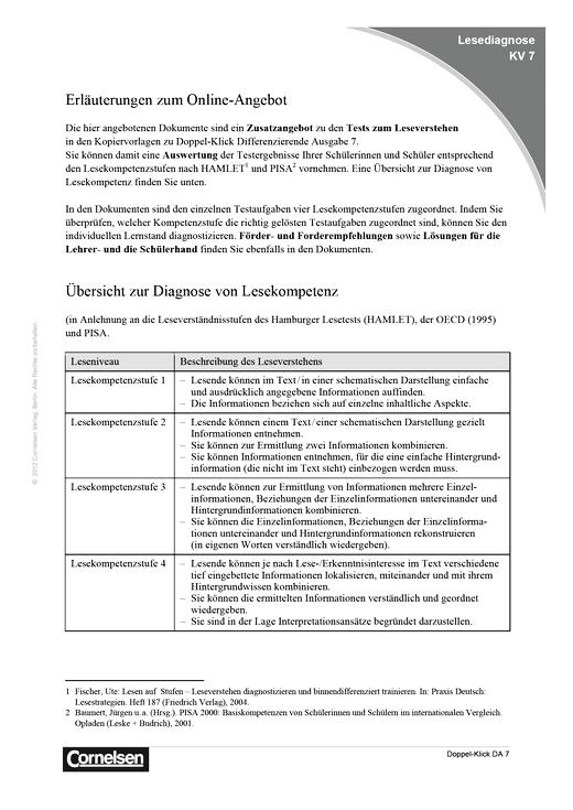 Doppel-Klick - Erläuterungen zum Online-Angebot - Diagnosebogen - 7. Schuljahr