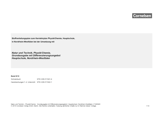 Natur und Technik - Physik/Chemie: Grundausgabe mit Differenzierungsangebot - Stoffverteilungsplan für die Hauptschule Nordrhein-Westfalen - 9./10. Schuljahr