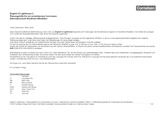 English G Lighthouse - Planungshilfe - Schulinternes Curriculum Sekundarschule Nordrhein-Westfalen - Band 2: 6. Schuljahr