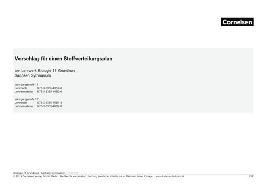 """Duden Biologie - Synopse """"Lehrbuch Biologie 11"""", Gymnasium Sachsen - Synopse - 11. Schuljahr - Grundkurs"""