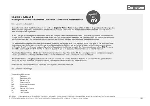 English G Access - Planungshilfe für ein schulinternes Curriculum Niedersachsen (G9) - Band 1: 5. Schuljahr