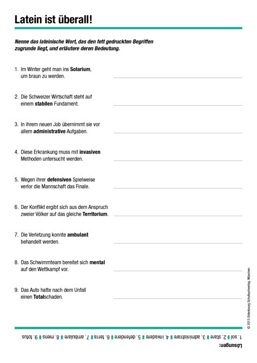 Cursus - Fremdwörter Lektionen 1 bis 8 - Arbeitsblatt