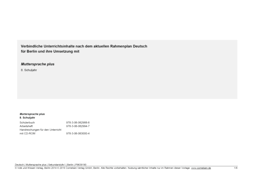 Muttersprache plus - Synopse für Berlin - 8. Schuljahr
