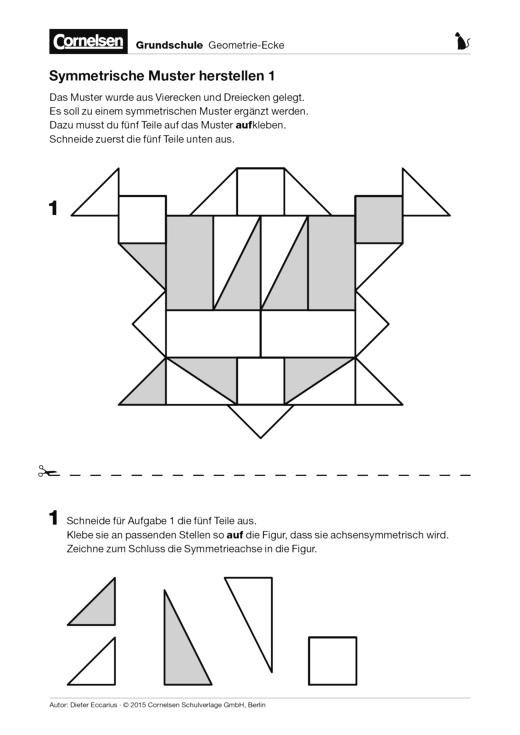 Symmetrische Muster herstellen - Arbeitsblatt