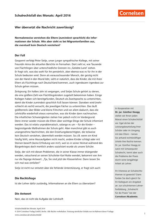 Wer übersetzt die Nachricht zuverlässig? - Schulrechtsfall - Webshop-Download