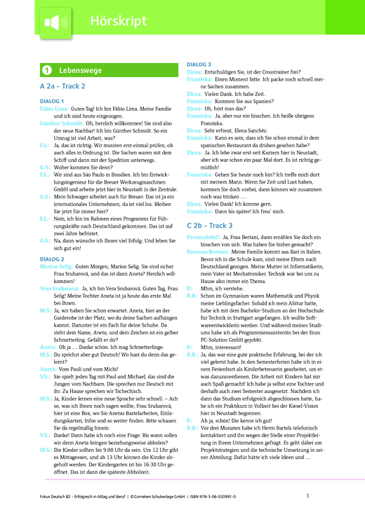 Fokus Deutsch - Lösungen zu Fokus Deutsch – Erfolgreich in Alltag und Beruf (Ausgabe für Österreich) - Hörtext - B2