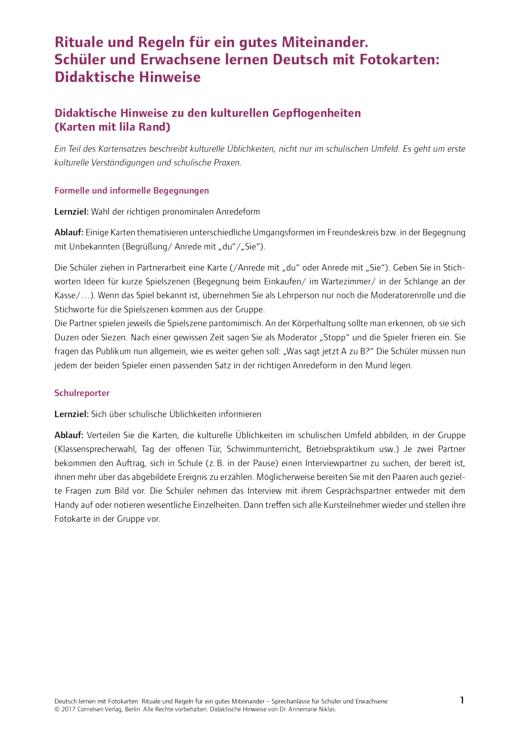 Deutsch lernen mit Fotokarten - Sekundarstufe I/II und Erwachsene - Didaktische Hinweise SEK Erste-Hilfe-Rituale + Regeln - Didaktische Fachinfo