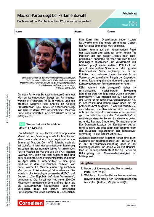 Macron-Partei siegt bei Parlamentswahl: Doch was ist En Marche überhaupt? Eine Partei im Portrait. - Arbeitsblatt - Webshop-Download
