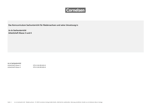 Jo-Jo Sachunterricht - Jo-Jo Sachunterricht 3/4 - Synopse zum neuen Kerncurriculum für Niedersachsen - Synopse - 4. Schuljahr