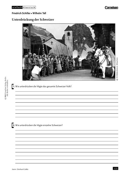 Einfach klassisch - Einfach klassisch: Wilhelm Tell - Unterdrückung der Schweizer - Arbeitsblatt - Webshop-Download