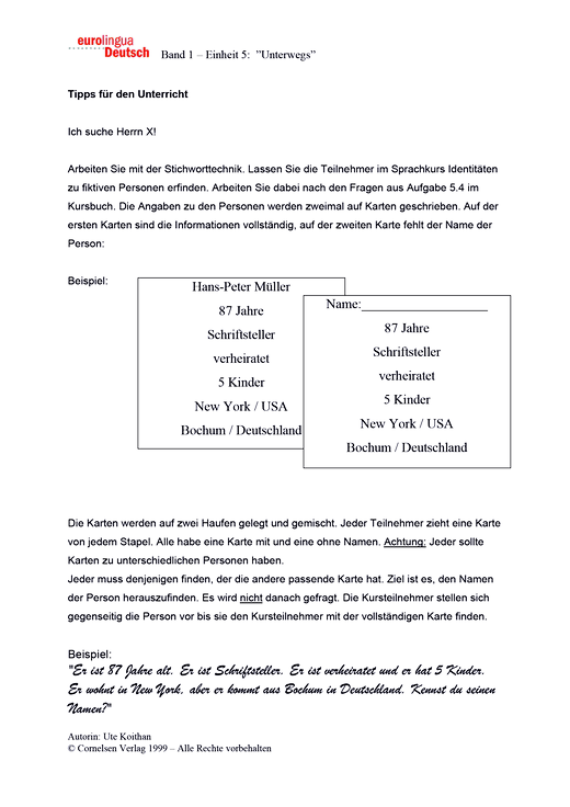 Ich suche Herrn X! - Arbeitsblatt - Webshop-Download