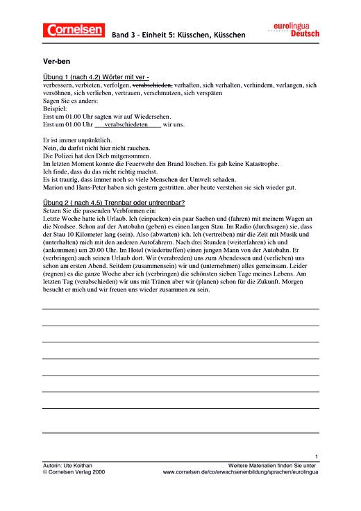 Verben - Arbeitsblatt - Webshop-Download