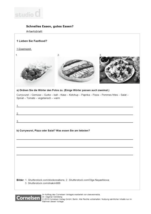 Studio d - Studio d A1, Einheit 10: Dossier: Schnelles Essen, gutes Essen? - Arbeitsblatt - A1: Gesamtband