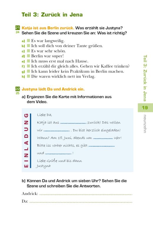 Studio d - Übungen zum Video Studio d A1 - Teil 3: Zurück in Jena - Arbeitsblatt - Webshop-Download