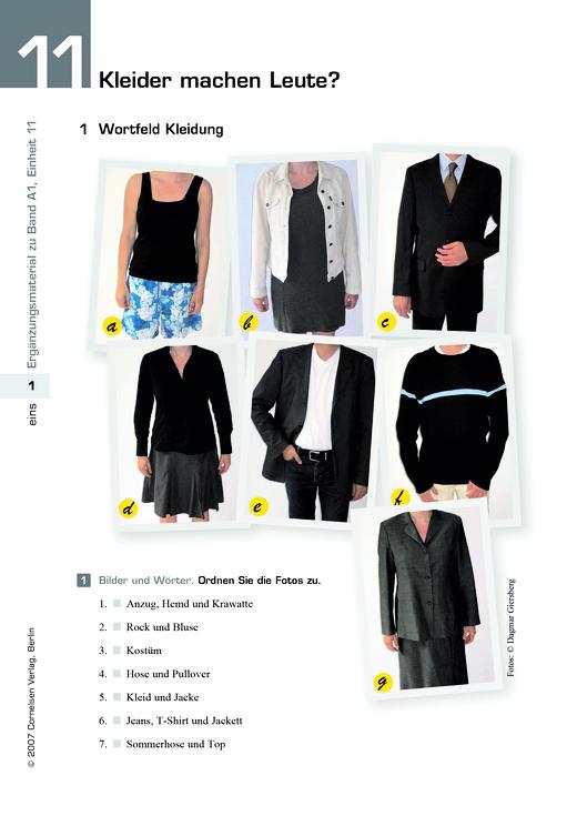 Studio d - Studio d A1, Einheit 11: Kleider machen Leute? - Arbeitsblatt - Webshop-Download