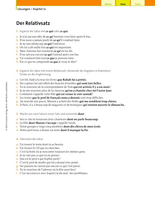 Lösungen – Kapitel 21, Der Relativsatz - Lösungen