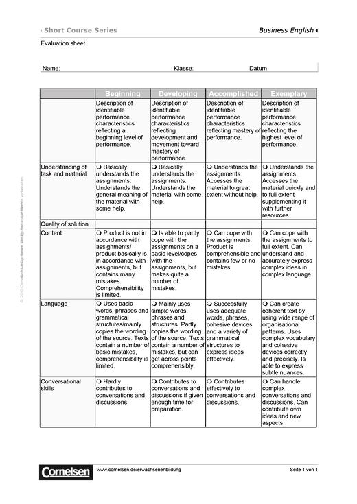 Short Course Series - Evaluation Sheet - Worksheet - Webshop-Download