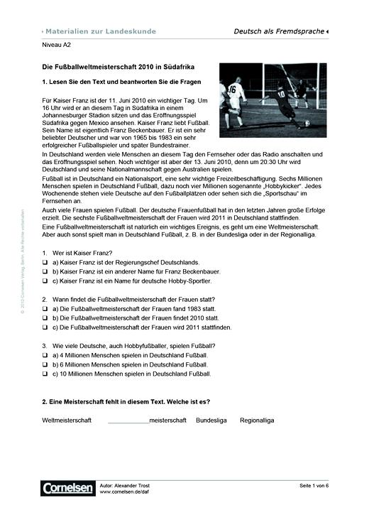 Fußballweltmeisterschaft 2010 - Arbeitsblatt