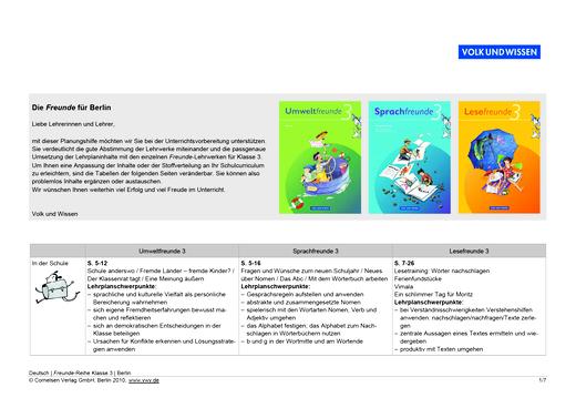 Umweltfreunde - Die Freunde für Berlin –  Klasse 3 - Synopse - 3. Schuljahr