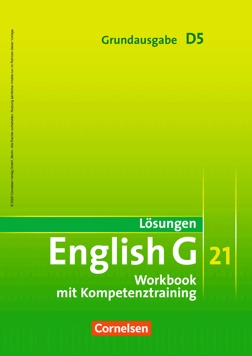 English G 21 - Lösungen zum English G 21-Workbook D5 GA - Workbook-Material - Band 5: 9. Schuljahr