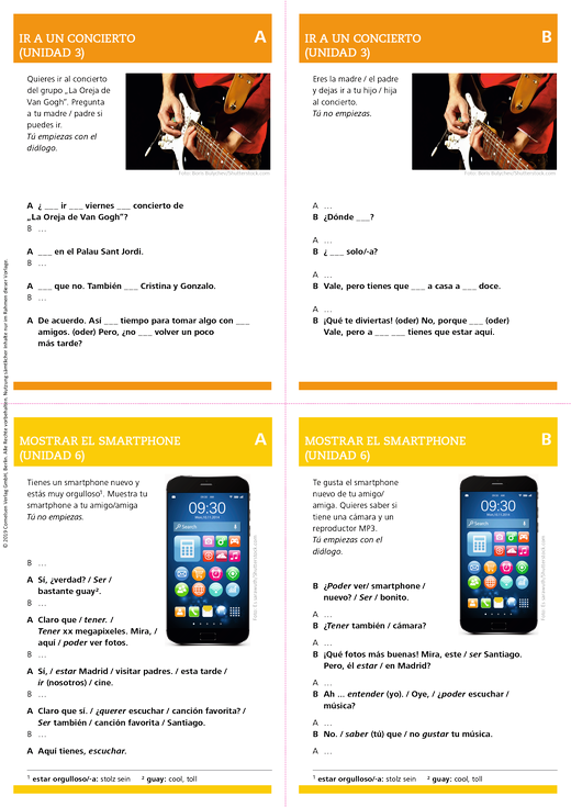 ¡Habla con ella! – Informationen für den Lehrer (Rollenspielkarten) - Spiel