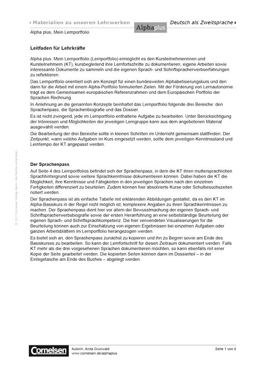 Mein Lernportfolio. Leitfaden für Lehrkräfte - Handreichung - Webshop-Download