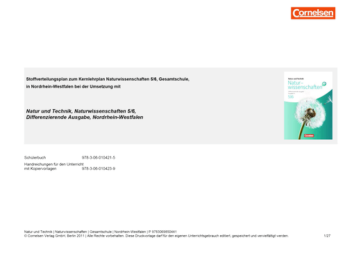 Natur und Technik - Naturwissenschaften: Differenzierende Ausgabe - Synopse Natur und Technik NaWi Differenzierende Ausg. 5/6 - Stoffverteilungsplan - Band 5/6