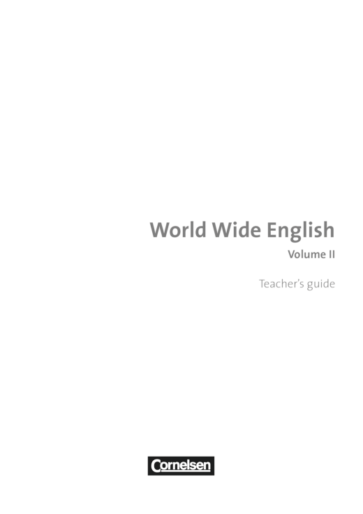 World Wide English Volume II – Handreichungen für den Unterricht - Handreichung - Webshop-Download