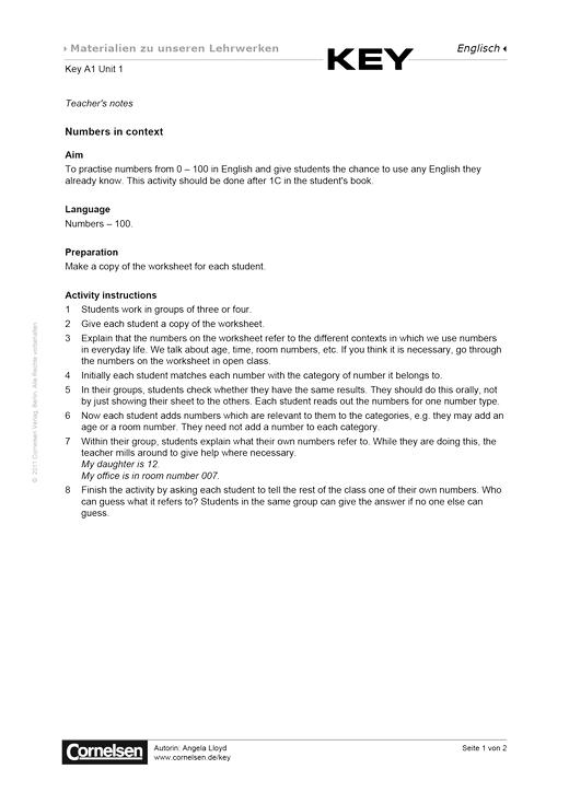 Key A1 Unit 1 Numbers in context - Arbeitsblatt - Webshop-Download