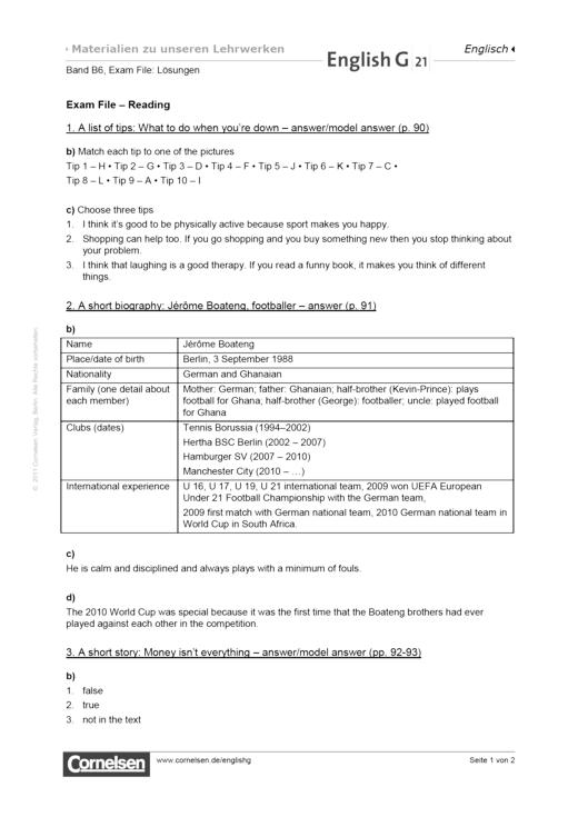 Exam File: Reading - Lösungen - Webshop-Download