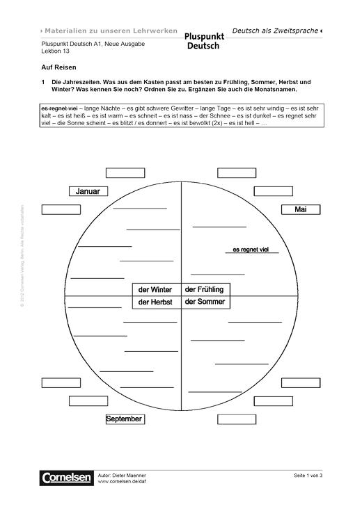 Pluspunkt Deutsch - Pluspunkt Deutsch Neue Ausgabe, Band A1, Lektion 13: Auf Reisen - Arbeitsblatt - Webshop-Download