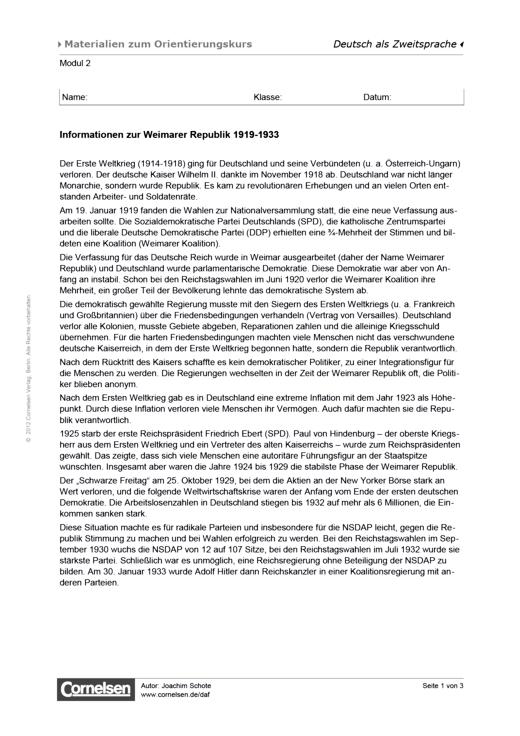 Orientierungskurs: Weimarer Republik - Arbeitsblatt