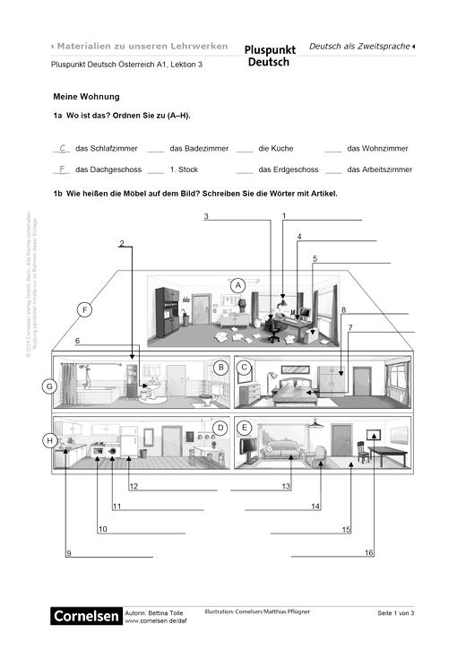 Pluspunkt Deutsch - Meine Wohnung - Arbeitsblatt