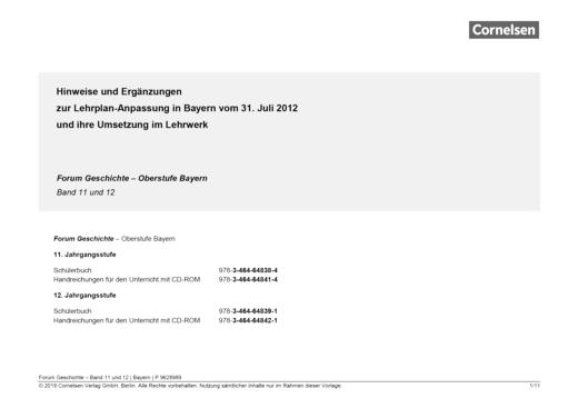 Synopse zu Forum Geschichte Bayern (Jahrgangsstufe 11/12) - Synopse - Webshop-Download