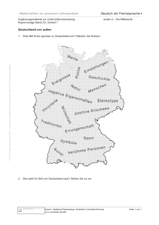 Studio: Die Mittelstufe - Unterrichtsvorbereitung B2/2, Einheit 7, Kopiervorlage 1 - Arbeitsblatt - Webshop-Download