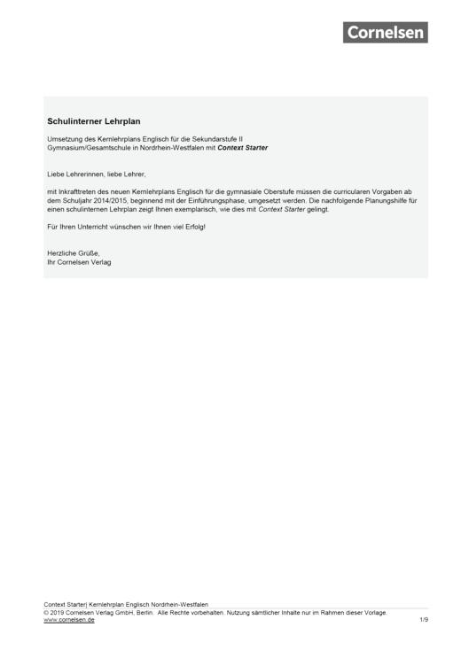 Context Starter - Planungshilfe für Context Starter in NRW - Stoffverteilungsplan