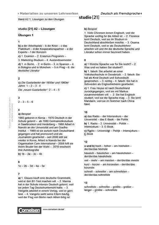 Studio [21] - Lösungen zu den Übungen A2.1 - Lösungen