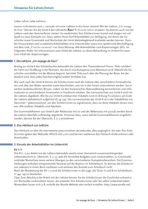 À plus ! - Un voyage de fous: Arbeitsblätter - Arbeitsblatt - Band 1