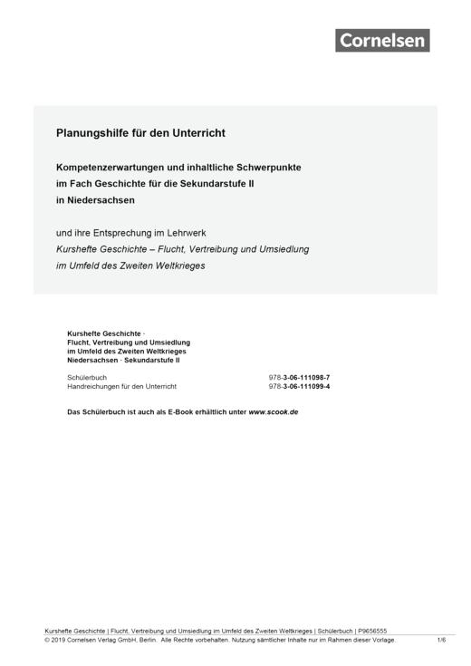 Kurshefte Geschichte - Semesterverlaufsplan zu Kurshefte Geschichte: Flucht, Vertreibung und Umsiedlung im Umfeld des Zweiten Weltkrieges - Planungshilfe