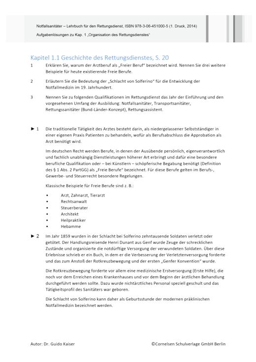 Notfallsanitäter Aufgabenlösungen - Lösungen - Webshop-Download
