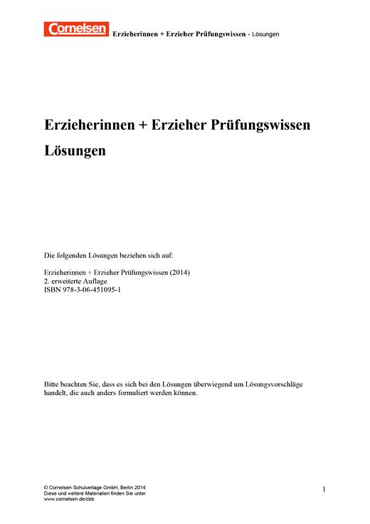 Erzieherinnen + Erzieher - Zum Prüfungswissen, 2., erweiterte Auflage - Lösungen - Zu allen Bänden